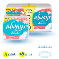 PODPASKI ALWAYS ULTRA NORMAL PLUS SENSITIVE FRESH 2 X 9 SZT DUOPACK